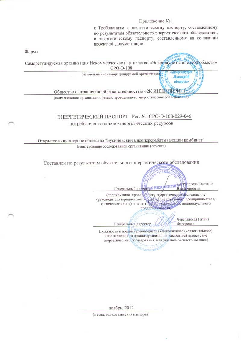 Энергетический паспорт ООО Бусиновский мясоперерабатывающий комбинат