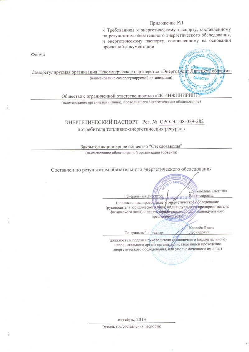 Энергетический паспорт ЗАО Стеклозаводы