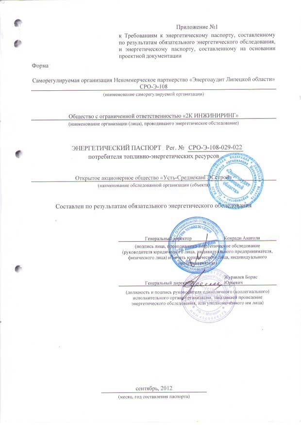 Энергетический паспорт Компания РусГидро ОАО Усть-СреднеканГЭСстрой
