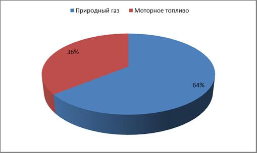 Рис. 2.3 Структура потребления энергетических ресурсов по видам топлива в 2011г (тут).