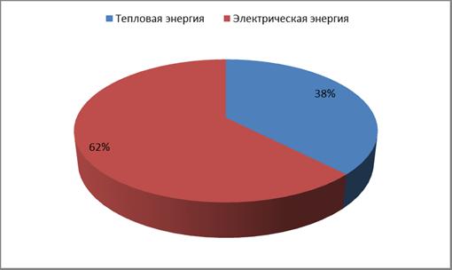 Рис. 2.4 Структура потребления энергетических ресурсов по видам энергии в 2011г (тут).
