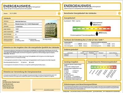 Энергетический паспорт в Германии - информация о здании