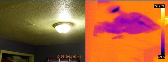 Протечка воды на потолке